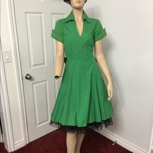 Pinup,Rockabilly, retro, vintage green dress